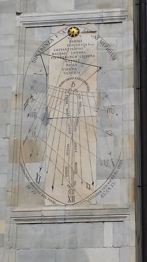Isto estava na catedral. Parece uma espécie de multi relógio de sol. Ou algo de horóscopo.